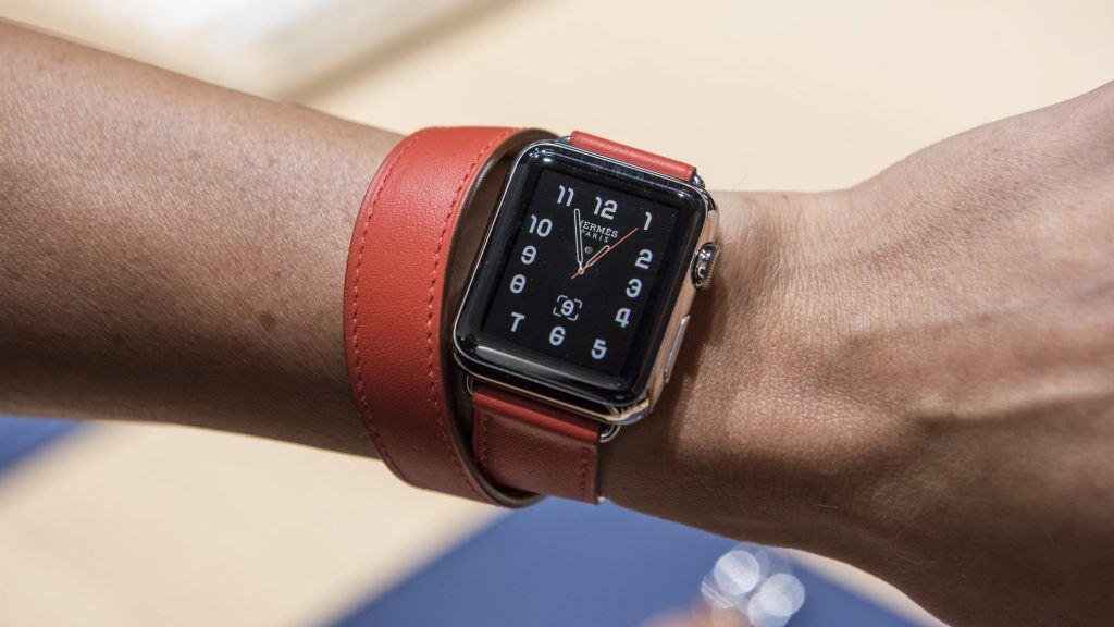 The Apple Watch Hermes is displayed for a photograph after an Apple Inc. product announcement in San Francisco, California, U.S., on Wednesday, Sept. 9, 2015. Apple Inc. unveiled a wide-ranging lineup of new products, including updated iPhones, a revamped TV set-top box for playing games and watching videos, and a bigger iPad designed for business customers. Photographer: David Paul Morris/Bloomberg via Getty Images